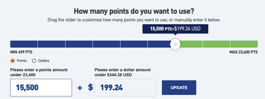 TrueBlue lets you pay with a mix of points and cash