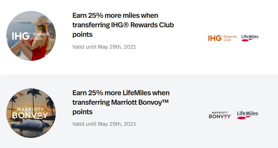 LifeMiles transfer bonus from IHG and Marriott