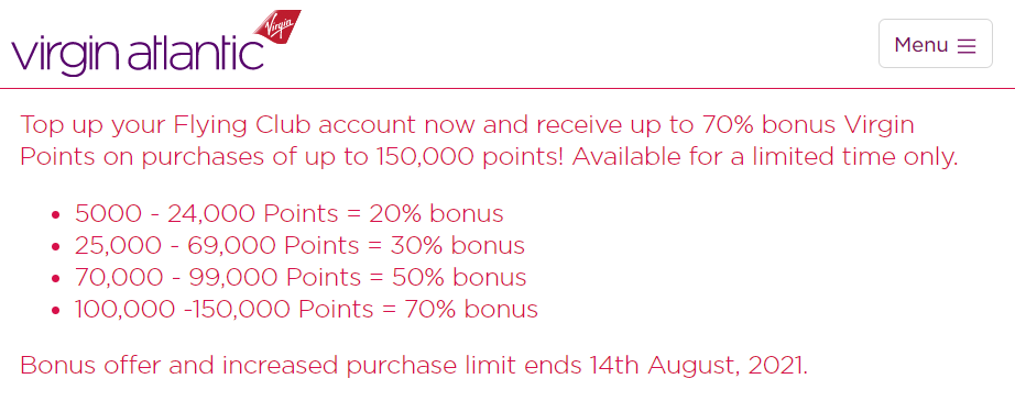 buy Virgin points with up to a 50% bonus