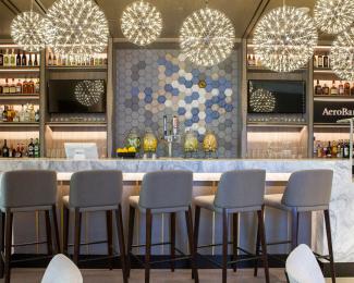 Plaza Premium Lounge bar at Dallas-Fort Worth Airport Terminal E