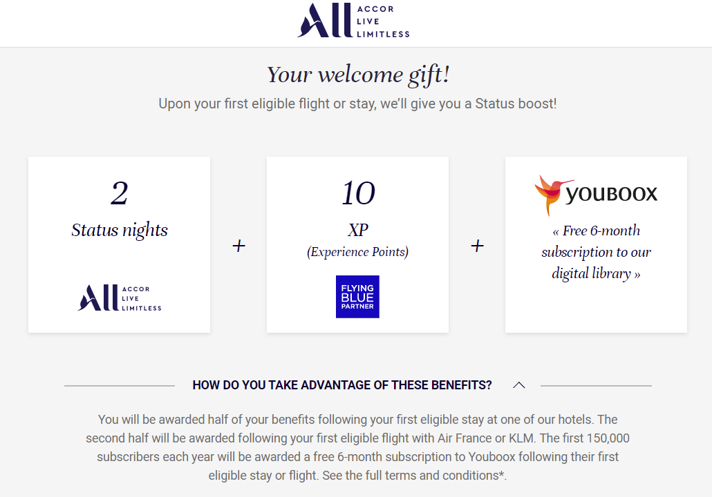 Accor Flying Blue Miles+Points welcome gift