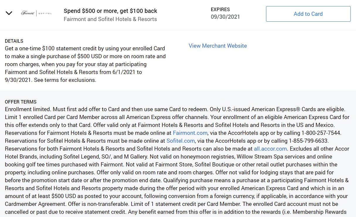 Fairmont and Sofitel Amex Offer