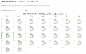 United award flash sale from Denver to London for 20,000 miles each way