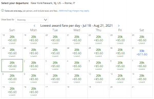 United award flash sale from Newark to Rome for 20,000 miles each way