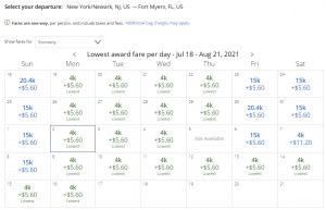 United award flash sale from Newark to Fort Myers for 4,000 miles each way