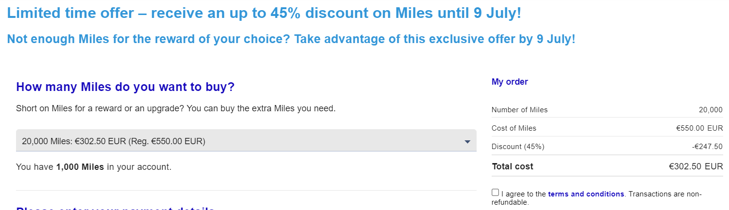 buy Flying Blue miles with a 45% discount