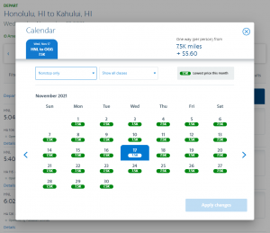 AAdvantage partner award on Hawaiian Airlines