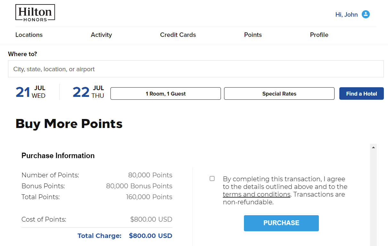 buy 80k Hilton Honors points with a 100% bonus