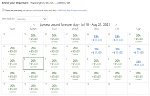 United award flash sale from Washington DC to Athens for 20,000 miles each way