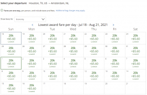 United award flash sale from Houston to Amsterdam for 20,000 miles each way