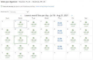 United award flash sale from Houston to Bozeman for 4,000 miles each way