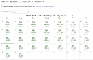 United award flash sale from Los Angeles to London for 20,000 miles each way