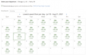 United award flash sale from Chicago to Paris for 20,000 miles each way