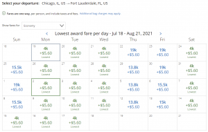 United award flash sale from Chicago to Fort Lauderdale for 4,000 miles each way