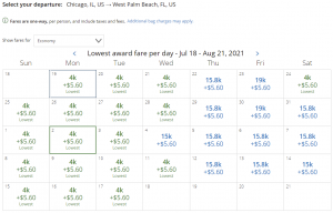 United award flash sale from Chicago to West Palm Beach for 4,000 miles each way