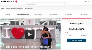 Miles4Migrants Aeroplan donation homepage