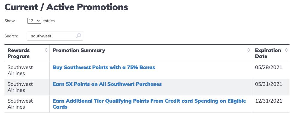 AwardWallet-Southwest-Rapid-Rewards-Promos