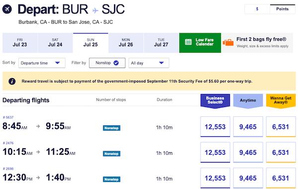 Southwest BUR - SJC Points