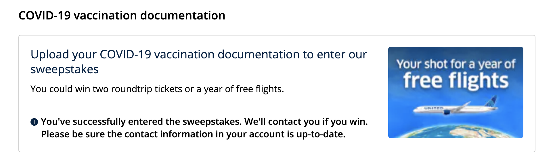 Add COVID-19 vaccine records to MileagePlus account for free United flights