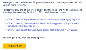 Southwest targeted promotion offering 3X points or a boost toward the Southwest Companion Pass