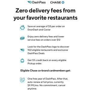 get free DoorDash DashPass through eligible Chase credit cards