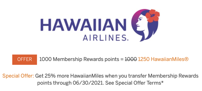 Membership Rewards transfer bonus to Hawaiian Airlines
