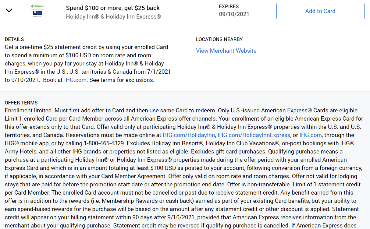 Amex Offers Holiday Inn Express