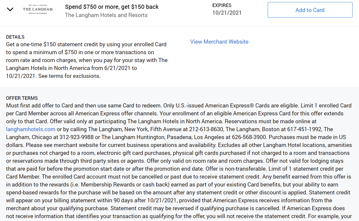 Langham Hotels Amex Offers