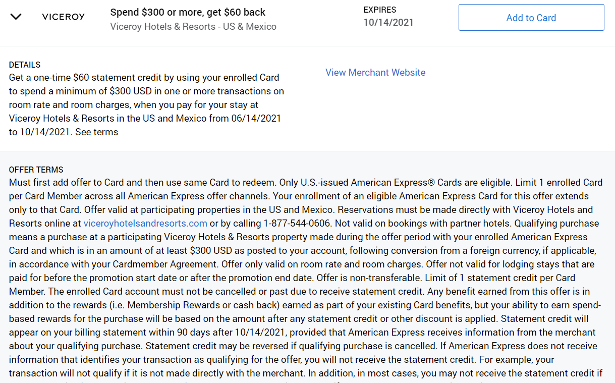 Amex Offers Viceroy Hotels