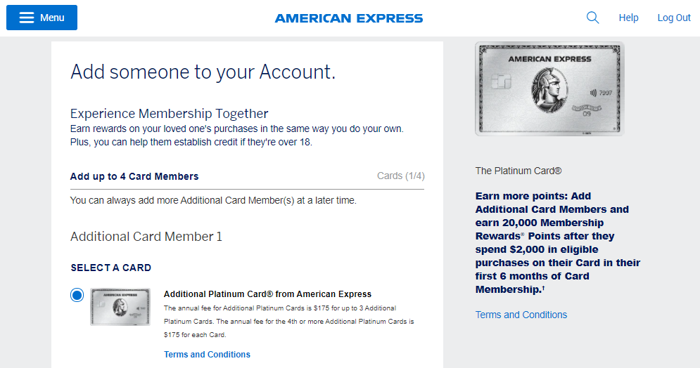 20,000 bonus Amex points for adding an authorized user to your Amex Platinum account