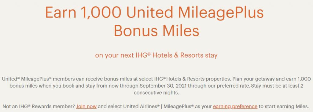 IGH and United bonus miles promotion