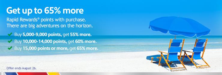 buy Southwest points with 65% bonus