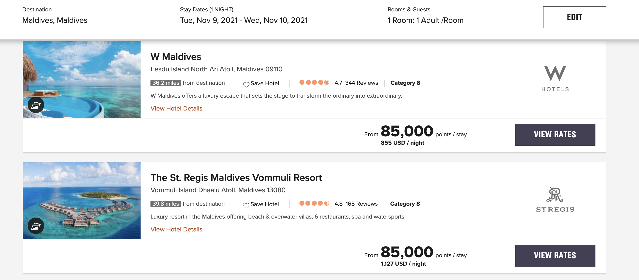 Bonvoy hotel search results for Marriott hotels in Maldives