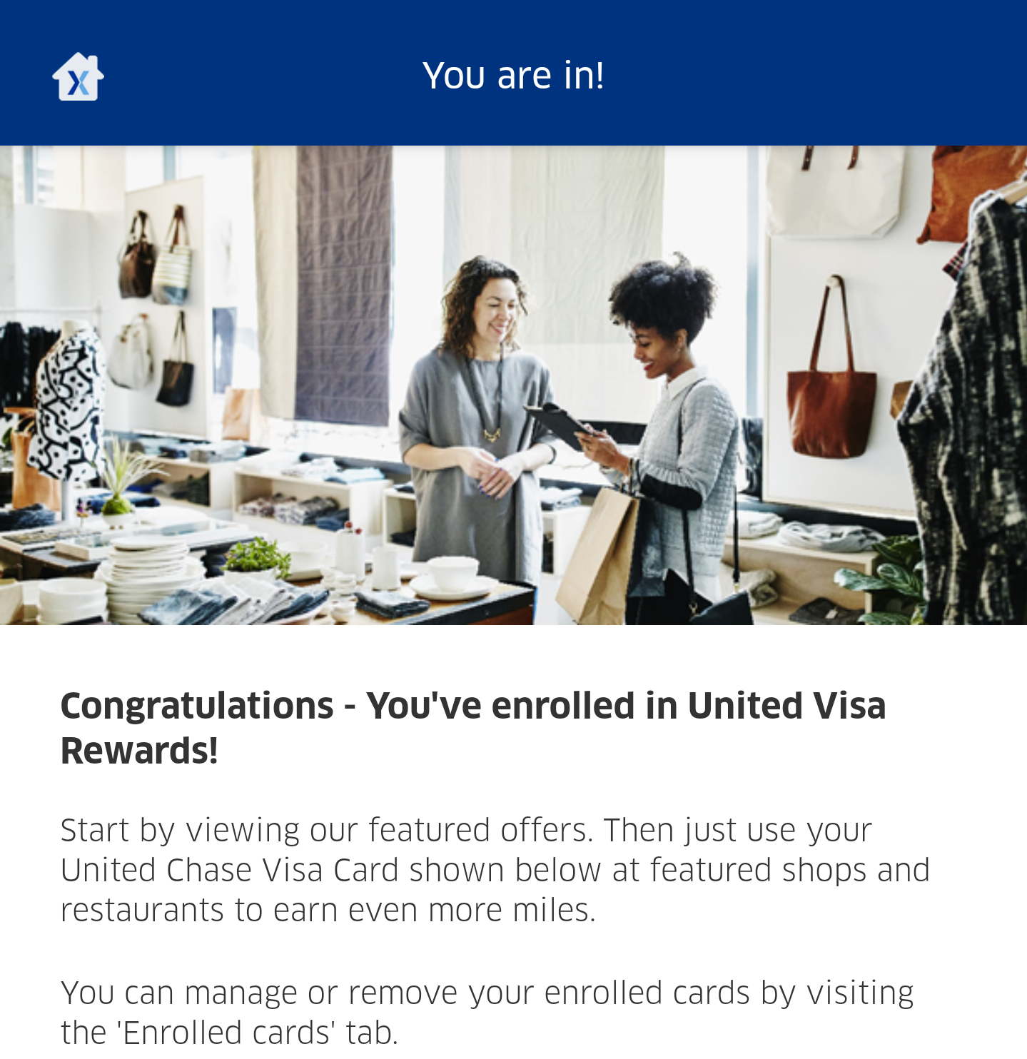 United MileagePlus X app United Visa Rewards enrollment
