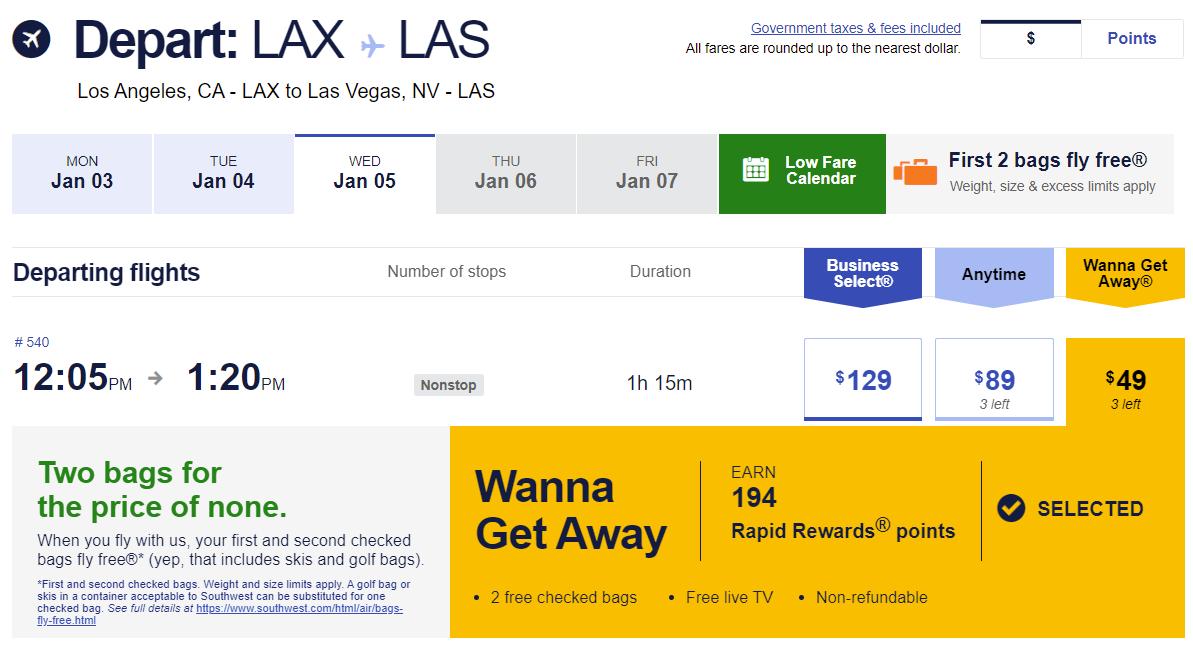 $49 Southwest flight from Los Angeles to Las Vegas