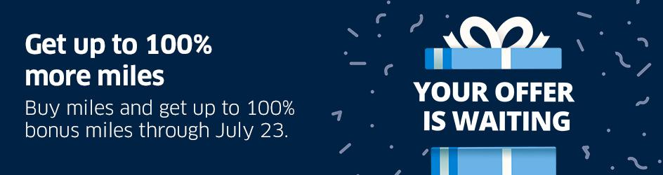 buy United miles with up to 100% bonus
