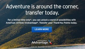 transfer Citi ThankYou Points to American Airlines banner