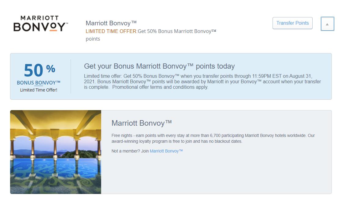 Chase Ultimate Rewards to Marriott Bonvoy transfer bonus