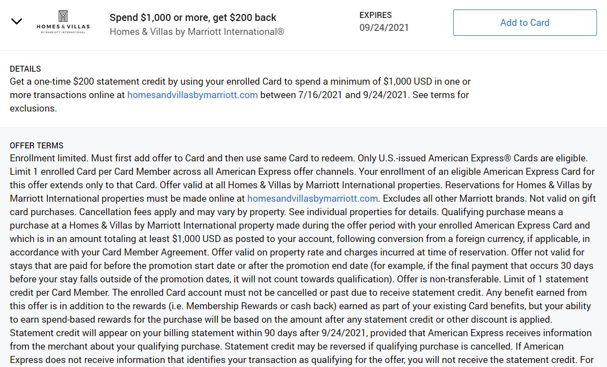 Amex Offers Marriott Homes & Villas