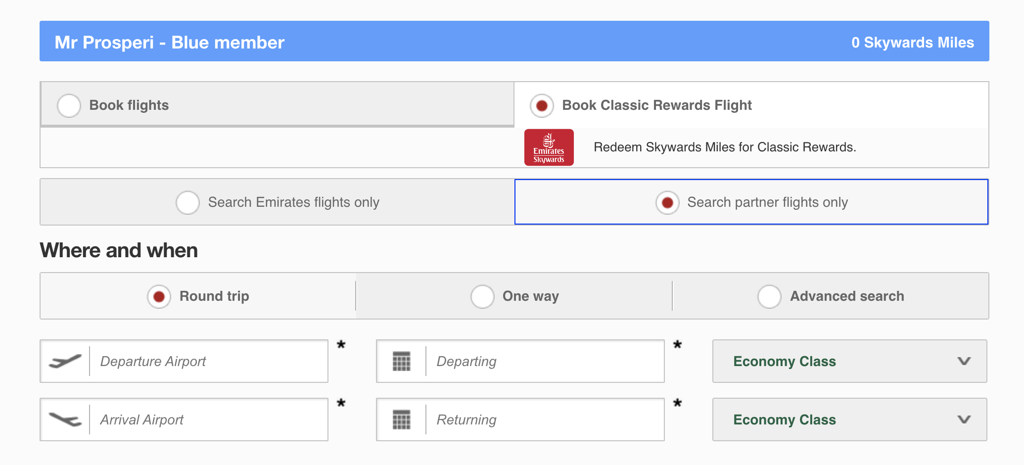 how to book JetBlue Mint using Emirates' website
