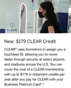 Amex Business Platinum new CLEAR credit